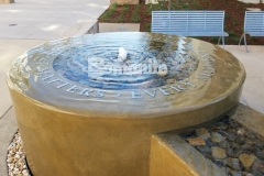 Bomanite Integral Color was paired here with a smooth trowel finish to form this decorative concrete fountain at the Clovis Community Medical Center and the peaceful atmosphere is perfect to remind patients and visitors that every moment matters.