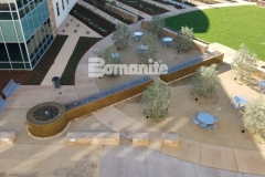 From forming the walls, sourcing the hard to locate epoxy coated rebar, to pouring the Bomanite smooth-troweled, integrally colored concrete, our colleague Heritage Bomanite took pleasure in creating this relaxing, restorative fountain outside of the Clovis Community Medical Center.