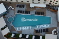 We utilized Bomanite Alloy decorative concrete to create almost 10,000 square feet of pool decking that is made up of various geometric shapes and colored with Bomanite Nickel Gray and Gobi Desert, creating contrast and accentuating the distinct design aesthetic at the Tulsa Hard Rock Hotel & Casino.