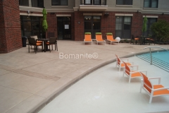 Bomanite of Tulsa used Bomanite Alloy to create a distinctive and decorative concrete hardscape pool deck and courtyard area at The Edge at East Village Apartments, adding another element of sophistication and high-end design that complements the style of the complex.