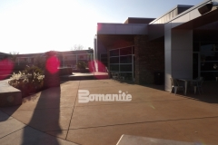 Featured here is Bomanite Sandscape Texture, a durable and distinctive decorative concrete that was installed here to add a cohesive look to the hardscape surfaces and create balance between the various exterior gathering spaces at CrossCity Christian Church.