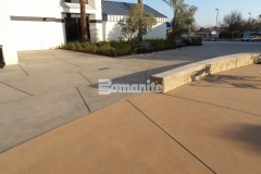 Sandscape Texture by Bomanite was installed here to create a decorative concrete hardscape with beautiful variation in color that blends seamlessly with the adjacent architectural details.