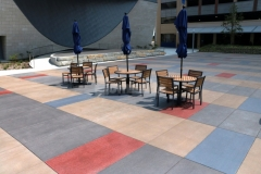 Vibrant colors were incorporated into this Bomanite Sandscape Texture decorative concrete to create variation and visual appeal throughout the space while providing a hardscape surface that is extremely durable and beautifully distinctive.
