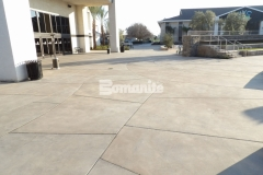 I love the textural variation and detailed saw cuts that were incorporated into this Bomanite Sandscape Refined Antico decorative concrete because it adds a beautiful, contemporary aesthetic to the hardscape, allowing it to flow perfectly into the adjacent gathering spaces.