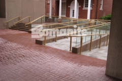 Bomanite Basketweave Brick stamped concrete was installed here in conjunction with traditional Bomanite Color Hardener to create a durable hardscape surface that is fade and wear resistant.