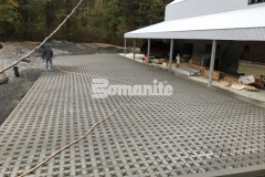 Grasscrete by Bomanite was installed here as a continuously reinforced, cast-in-place, pervious concrete that will reduce site runoff and provide a long-term resolution for stormwater management.