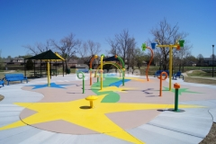 Bomanite of Tulsa used Bomanite Micro-Top XT to create a dynamic decorative concrete hardscape at the Jackson Park Playground in Broken Arrow, Oklahoma, adding durability to the space while animating this neighborhood play area.