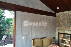 The Bomanite Bomacron Boardwalk pattern was utilized here to emboss and texture a Bomanite Thin-Set overlay that was installed vertically to create these cabana walls and add a warm, inviting design aesthetic.