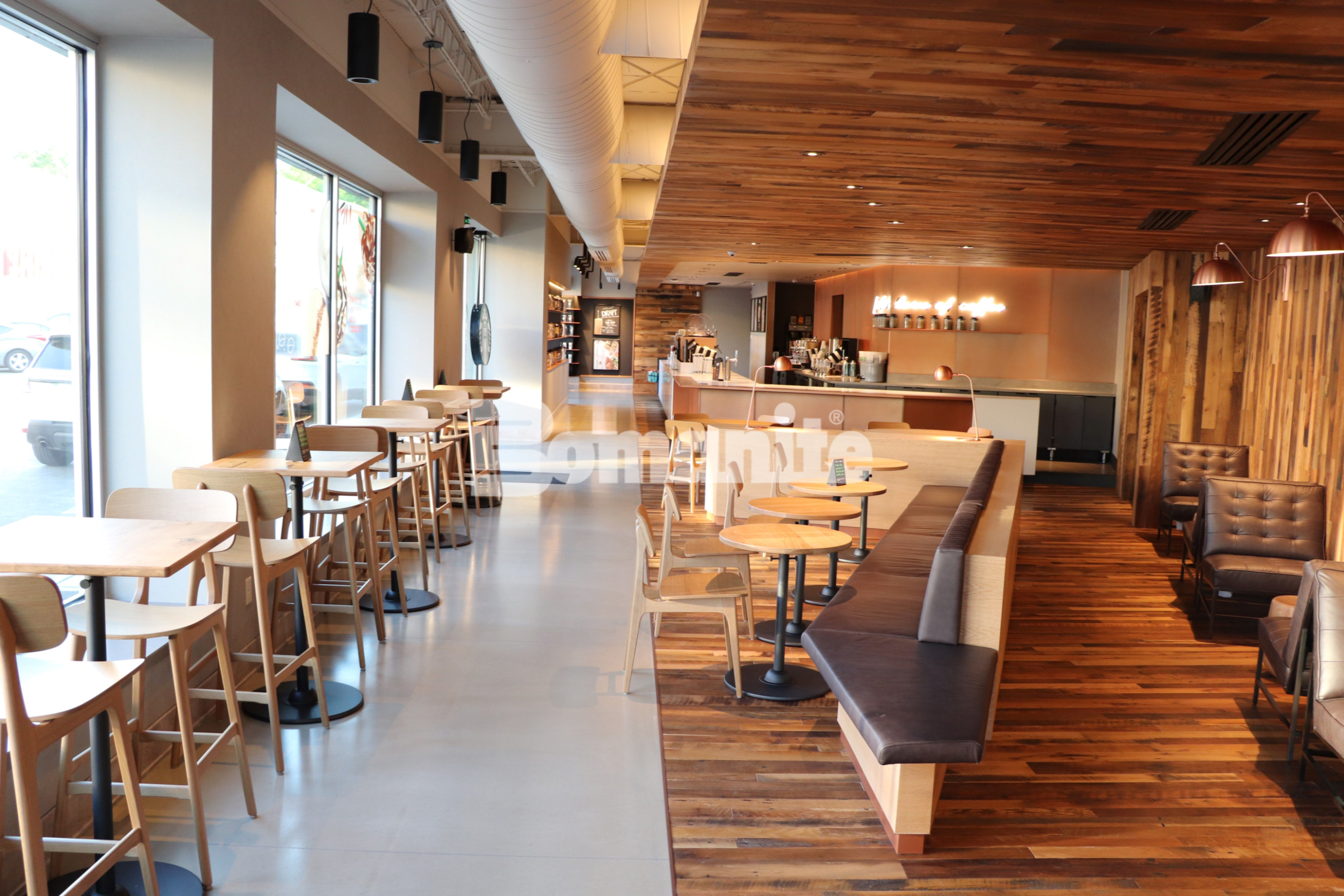 Prototype flooring of Bomanite Custom Polishing System with Modenal SL installed by Bomanite Licensee Musselman & Hall Contractors, LLC, is featured at this Starbucks in the Brookside neighborhood of Kansas City.